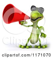 Clipart Of A 3d Green Gecko Announcing With A Megaphone 2 Royalty Free CGI Illustration