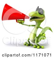 Clipart Of A 3d Green Gecko Announcing With A Megaphone 3 Royalty Free CGI Illustration