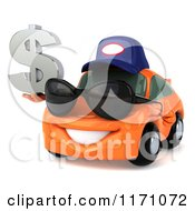 Clipart Of A 3d Orange Porsche Car Wearing A Hat And Sunglasses And Holding A Dollar Symbol Royalty Free CGI Illustration