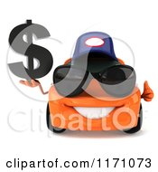 Clipart Of A 3d Orange Porsche Car Wearing A Hat And Sunglasses And Holding A Dollar Symbol 2 Royalty Free CGI Illustration