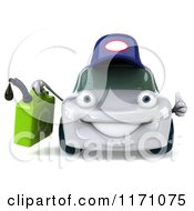 Clipart Of A 3d White Porsche Car Wearing A Hat And Holding A Gas Can Royalty Free CGI Illustration