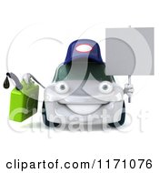 Clipart Of A 3d White Porsche Car Wearing A Hat And Holding A Gas Can And Sign Royalty Free CGI Illustration