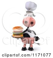 Clipart Of A 3d Chef Cow Holding A Double Cheeseburger Royalty Free CGI Illustration