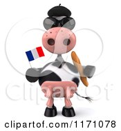 Clipart Of A 3d French Cow With Bread A Flag Sunglasses And Hat Royalty Free CGI Illustration