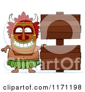 Cartoon Of A Happy Witch Doctor By Wooden Signs Royalty Free Vector Clipart by Cory Thoman