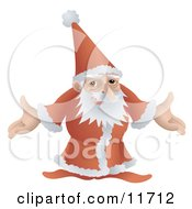 Santa In His Red And White Uniform Standing With Open Arms Clipart Illustration by AtStockIllustration