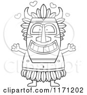 Cartoon Clipart Of A Loving Witch Doctor Wanting A Hug Vector Outlined Coloring Page by Cory Thoman