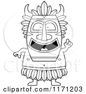 Cartoon Clipart Of A Smart Witch Doctor With An Idea Vector Outlined Coloring Page by Cory Thoman