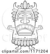 Cartoon Clipart Of A Mad Witch Doctor Vector Outlined Coloring Page by Cory Thoman