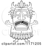 Cartoon Clipart Of A Frightened Witch Doctor Vector Outlined Coloring Page by Cory Thoman