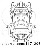 Cartoon Clipart Of A Depressed Witch Doctor Vector Outlined Coloring Page by Cory Thoman