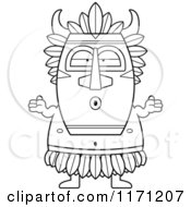 Cartoon Clipart Of A Shrugging Careless Witch Doctor Vector Outlined Coloring Page by Cory Thoman