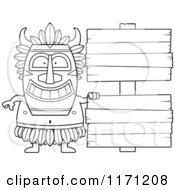 Cartoon Clipart Of A Happy Witch Doctor By Wooden Signs Vector Outlined Coloring Page by Cory Thoman