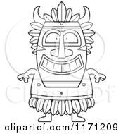 Cartoon Clipart Of A Happy Witch Doctor Vector Outlined Coloring Page by Cory Thoman