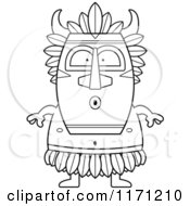 Cartoon Clipart Of A Surprised Witch Doctor Vector Outlined Coloring Page by Cory Thoman