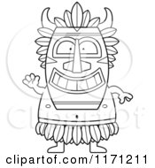 Cartoon Clipart Of A Waving Witch Doctor Vector Outlined Coloring Page by Cory Thoman