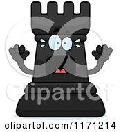 Cartoon Of A Screaming Black Chess Rook Mascot Royalty Free Vector Clipart