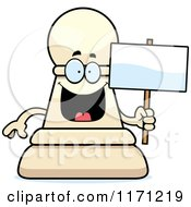 Cartoon Of A Happy White Chess Pawn Mascot Holding A Sign Royalty Free Vector Clipart