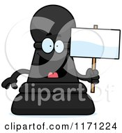 Cartoon Of A Happy Black Chess Pawn Mascot Holding A Sign Royalty Free Vector Clipart