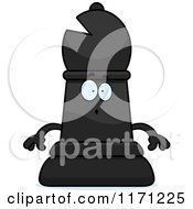 Cartoon Of A Surprised Black Chess Bishop Piece Royalty Free Vector Clipart