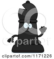 Cartoon Of A Happy Black Chess Bishop Piece Royalty Free Vector Clipart