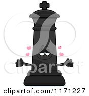 Cartoon Of A Loving Black Chess King Wanting A Hug Royalty Free Vector Clipart