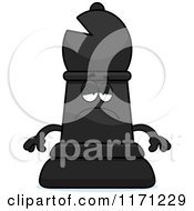 Cartoon Of A Depressed Black Chess Bishop Piece Royalty Free Vector Clipart