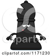 Cartoon Of A Sick Black Chess Bishop Piece Royalty Free Vector Clipart