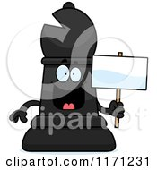 Cartoon Of A Happy Black Chess Bishop Piece Holding A Sign Royalty Free Vector Clipart