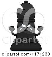 Cartoon Of A Mad Black Chess Bishop Piece Royalty Free Vector Clipart