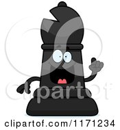 Cartoon Of A Smart Black Chess Bishop Piece With An Idea Royalty Free Vector Clipart