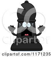 Cartoon Of A Screaming Black Chess Bishop Piece Royalty Free Vector Clipart