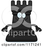 Cartoon Of A Happy Black Chess Rook Mascot Royalty Free Vector Clipart