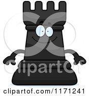 Happy Black Chess Rook Mascot