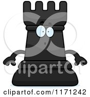 Cartoon Of A Surprised Black Chess Rook Mascot Royalty Free Vector Clipart