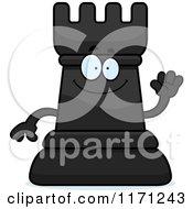Cartoon Of A Waving Black Chess Rook Mascot Royalty Free Vector Clipart