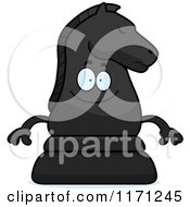 Cartoon Of A Happy Black Chess Knight Mascot Royalty Free Vector Clipart by Cory Thoman
