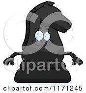 Happy Black Chess Knight Mascot