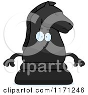 Cartoon Of A Surprised Black Chess Knight Mascot Royalty Free Vector Clipart