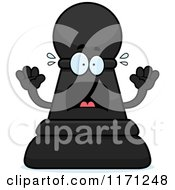 Cartoon Of A Screaming Black Chess Pawn Mascot Royalty Free Vector Clipart