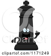 Cartoon Of A Smart Black Chess King With An Idea Royalty Free Vector Clipart