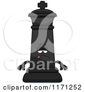 Cartoon Of A Sick Black Chess King Royalty Free Vector Clipart