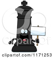 Cartoon Of A Happy Black Chess King Holding A Sign Royalty Free Vector Clipart