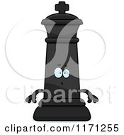 Cartoon Of A Surprised Black Chess King Royalty Free Vector Clipart