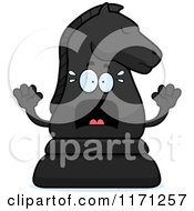 Cartoon Of A Screaming Black Chess Knight Mascot Royalty Free Vector Clipart