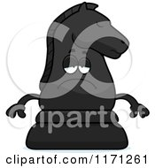 Cartoon Of A Depressed Black Chess Knight Mascot Royalty Free Vector Clipart