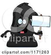 Cartoon Of A Happy Black Chess Knight Mascot Holding A Sign Royalty Free Vector Clipart