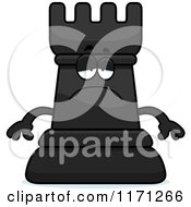 Cartoon Of A Depressed Black Chess Rook Mascot Royalty Free Vector Clipart