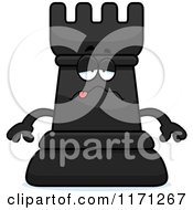Cartoon Of A Sick Black Chess Rook Mascot Royalty Free Vector Clipart