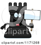Cartoon Of A Happy Black Chess Rook Mascot Holding A Sign Royalty Free Vector Clipart